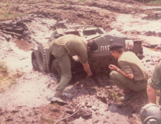 scout car stuck in mud